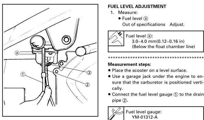 уровень топлива в карбюратора скутера